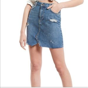 Free People High Waisted Denim Mini Skirt Size 30